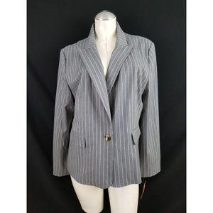 Isaac Mizrahi Size XXL Gray Pinstripe Blazer
